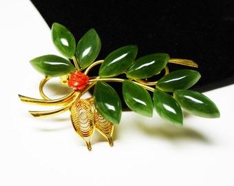 Vintage Leaf Brooch - Green Jade Leaves & Carved Coral Flower - Mid Century Vintage Pin - 1960's - 1970's