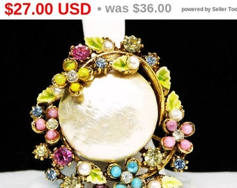 Mod Pearl Brooch - Green Enamel Leaves and Pastel Flowers with Rhinestones - Designer Signed ART Pin - Vintage  1960's Mod Jewelry