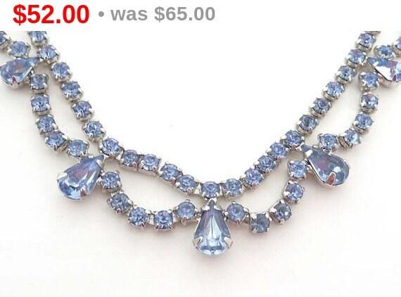 vintage blue rhinestone b david necklace something blue