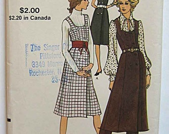 RARE Vintage 70's Misses' Dress or Jumper and Pants Vogue 8091 Sewing Pattern UC Size 16