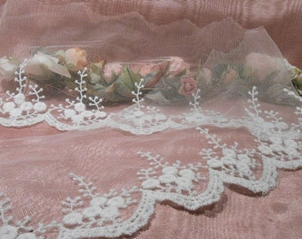 Lace abric Remnant Wedding Gown Tulle lace Trim Craft Supply