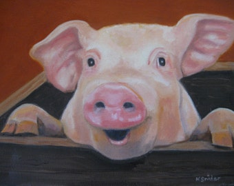 Whimsical Pig Art Farm Animal Decor Barnyard Animals Pig Oil Painting Kid's Decor Kitchen Decor Pet Portrait Animal Portrait Karen Snider