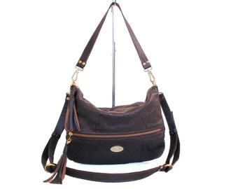 SALE Snake Embossed Dark Brown Italian Leather Valentina Hobo Bag. Shoulder Handbag. Crossbody Purse. Work Bag. Comfy Slouchy Bag