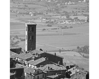 Fine Art Black & White Photography of a View Over Cortona