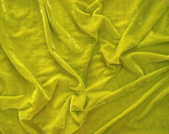 velvet fabric by the yard velvet fabric fabric for craft - 1 yard - yellow green - vlt036