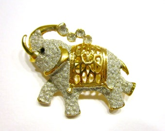 Vintage Genuine Diamond Elephant Brooch Diamond Dusted Gold Elephant Pin Gift for Her Elephant Jewelry Under 25 Jewelry Gift Idea
