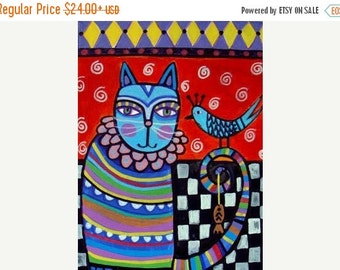 55% Off- Cat Art  Poster Print of  Painting  by Heather Galler