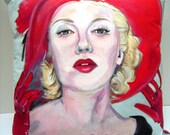 Lana Turner In Red Hat 1940's Hand Painted 14x14 Pillow