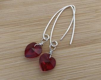 Red Heart Earrings. Swarovski Crystal Sterling Silver Earrings. Valentine's Day Jewelry. Ruby Heart Glass Earrings. Romantic Earrings.