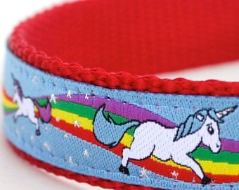 Magical Unicorns Dog Collar, Blue Dog Collar, Rainbow Pet Collar, Girl Adjustable Ribbon Collar