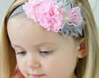 Grey and pink embellished infant headband