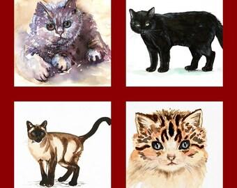 "Custom Portrait "" Cat"" MADE to ORDER Art Original Watercolor Animals Pets  ""CATS """
