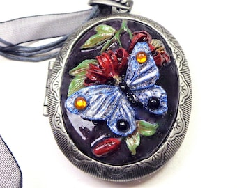 Large Cameo Locket, Hand Painted, Blue Butterfly, Resin Cameo, Adjustable Black Ribbon Necklace, Swarovski Crystals, OOAK