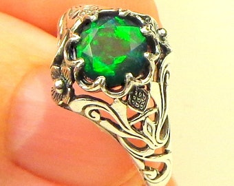 Black Welo Opal, 925 Sterling Silver Ring, Ethiopian Black Opal Ring,Red,Yellow,Green Fire,Edwardian Style,Ornate Ring,Multi-Color Stone