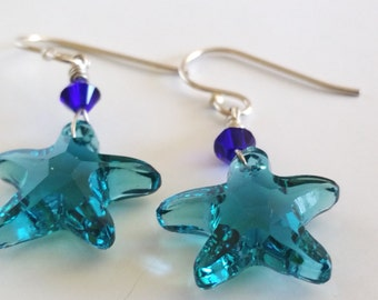 Blue Swarovski Crystal Starfish Drop Earrings Indicolite Tourmaline