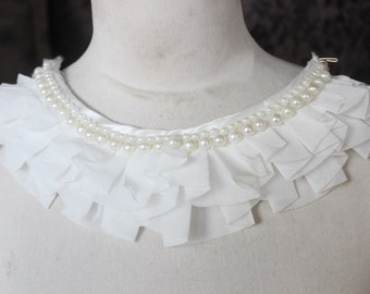 Cute embroidered  and  beaded chiffon  applique white  color