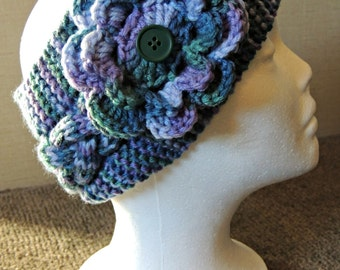 Must Love Color HandKnit Headband With Flower / Ready To Ship / Teen To Adult