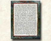 Man in the Arena - 11x14 Mounted Word Art Print - Theodore Roosevelt  - Stone Rust Border- other formats - greeting card, canvas
