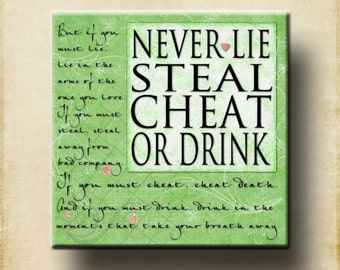 Never Lie Cheat Steal Contemporary 12x12 Gallery Wrapped Canvas  Movie Hitch Will Smith Fresh Spring Lime Green Cafe Mount
