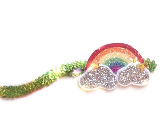 Rainbow Hair Clip, Rainbow Headband, Glitter Hair Clip or Headband, Felt Hair Clip or Headband, Rainbow Birthday, Baby Photo Prop