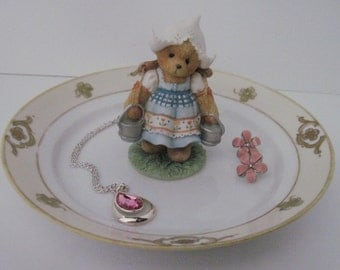 Cherished Teddies - DUTCH Girl - Upcycled Repurposed Ring, Trinket, JEWELRY DISH - Gift Idea