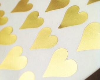 Matt gold heart shape stickers - Gold heart foil labels -  28x30mm heart shaped stickers - envelope seals - 42 stickers - gift wrap