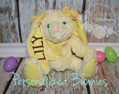Monogrammed Easter Bunny - Yellow Rabbit - Personalized Plush Rabbit