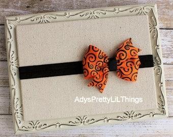 Halloween Headband Orange Headband Swirl Bow Headbands Orange Headband Baby Bows Girls Headband Hair Accessories