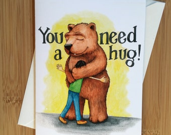 Bear Hug Greeting Card - Blank Inside