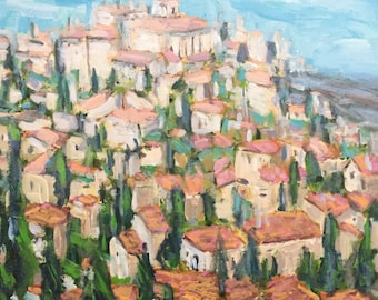 """Village in Provence 18""""x18""""x1.5"""" acrylics on canvas original painting"""