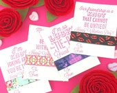 Valentines Day Favors for Class, School, or for friends - 1 set of one card with one hair tie - Grab Bag Style