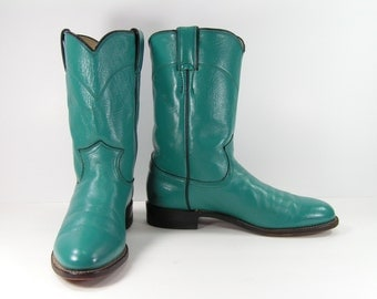 turquoise  cowboy boots ropers womens 7.5 b m western leather justin southwestern native american indian