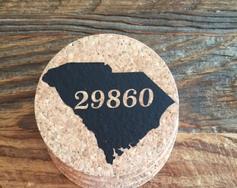 State and Zip Code Cork Coasters-Set of 4