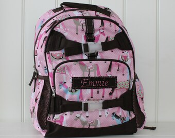 Large Pottery Barn Backpack With Monogram (Large Size) -- Pink/Brown Horse