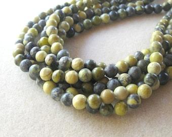 Yellow Turquoise Round Gemstone Beads, Jewelry Making Beads, Jewelry Design, Bead Supplies, Jewelry Supplies, Craft Supply, Full Strand, 8mm
