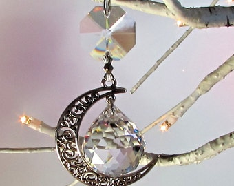 Crystal Prism Ball Moon Sun Catcher & Christmas Ornament, 1S-21