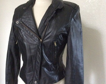 Vintage Black Fitted Leather Motorcycle Jacket with Hood - Women's Medium