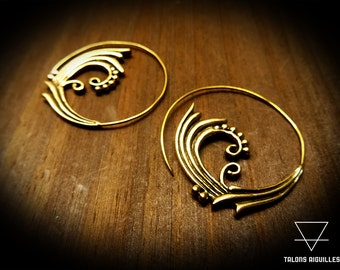 Boucles d 'oreille laiton # ethnic brass earing # spiral earrings