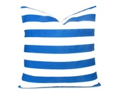 "Blue Pillow Cover, Royal Blue Euro Sham Cobalt Throw Pillows ONE pillow cover Striped Decorator Pillow 18x18 inch, ALL SIZES 20"" 16"" Stripe"