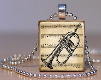 Vintage Sheet Music and Cornet Pendant on an Upcycled Scrabble Tile (143)