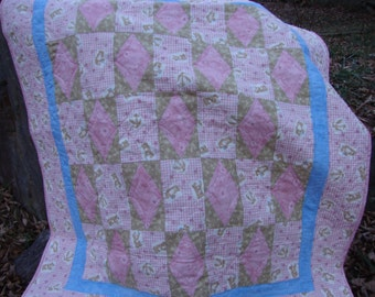 Baby Toddler Teddy Bear Quilt Minkee Back Pink Tan Periwinkle