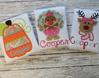 pretty pretty baby HOLIDAY 3 PACK option 2 girl holiday appliqué shirts