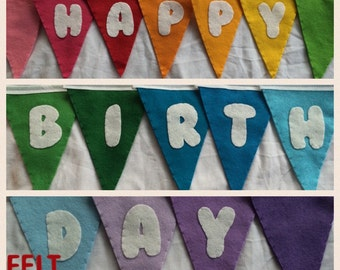 Happy birthday rainbow bunting, garland