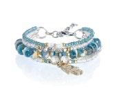 Fatima hand charm bracelet - hand of fatima charm jewelry - hamsa hand jewelry - ethnic symbol jewelry - bohemian bracelet - multistrand set