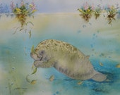 Reserved for MoonPieInTheSky Watercolor original 19 x 15 manatee bowman Crystal River Gourmet