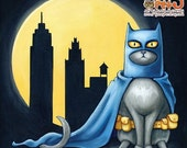 30% OFF SALE Batcat - 8x8 art print - superhero cat dressed like batman wearing his utility belt in front of a full moon and city line