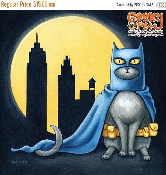 30% OFF SALE Batcat - 8x8 art print - superhero cat dressed like batman wearing his utility belt in front of a full moon and city line