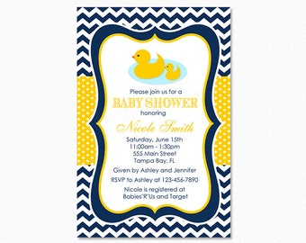 Rubber Duck Baby Shower Invitation, Duck Baby Shower Invitation, Yellow Polka Dot, Personalized, Printable and Printed