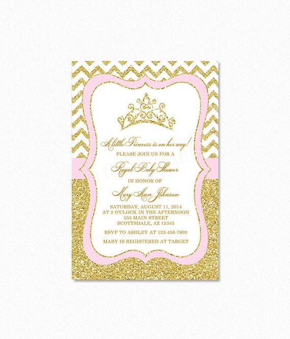 baby shower invitation little princess gold glitter printable baby
