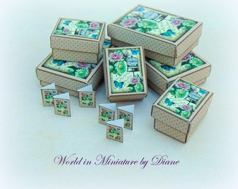PDF Dollhouse Gift Boxes, Dollhouse Digital Download 1:12 Gift Boxes Kit, Truffle Bird Cage Shabby Gift Boxes